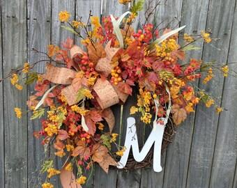 Fall Wreath, Front Door Wreath, Fall Berry Wreath, Autumn Thanksgiving Wreath, Fall Flower Harvest, Halloween Initial Wreath