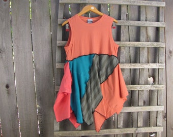 Funky Turquoise Coral Orange Pixie Tunic Top Lagenlook Upcycled/ Funky Asymmetrical Eco Blouse/ Hi Lo Womens Tops S/M