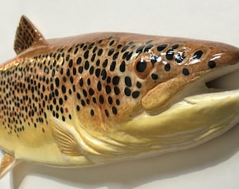 "Brown Trout - Ceramic Wall Art - 20"""