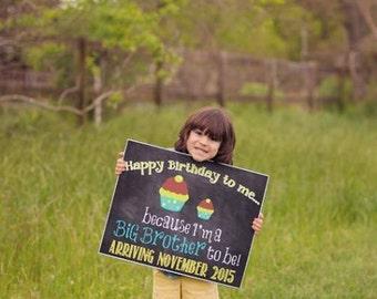 Custom Printable Birthday Pregnancy Announcement // Pregnancy Reveal // Big Sister // Big Brother // Birthday Pregnancy Reveal