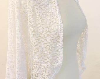 bridal cardigan, crochet cardigan, white cardigan for bride, crochet kimono jacket, romantic bridal wear