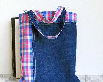 Denim Tote Bag | Small Tote | Lunch Bag |Blue Check and Denim Book Bag