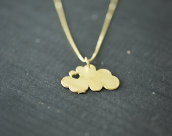 brass clouds necklace - cloud necklace nature lover i heart clouds gold cloud gold necklace cloud with heart charm