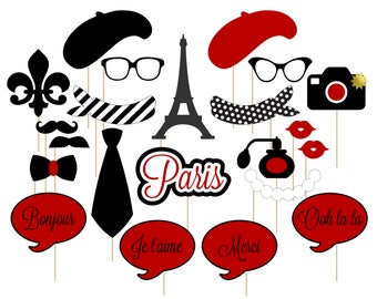 Printable Paris Photo Booth Props . Paris . Parisian . France . French . Red/Black . Instant Download