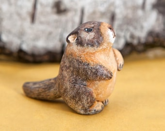 Marmot totem. Polymer clay animal OOAK figurine, talisman, amulet. Native, folk, medicine.
