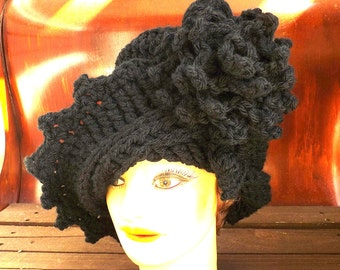 Black Cloche Hat,  Black Crochet Hat Black Womens Hat Trendy,  Wool Hat,  Black Hat,  Lauren 1920s Cloche Hat,  Crochet Flower