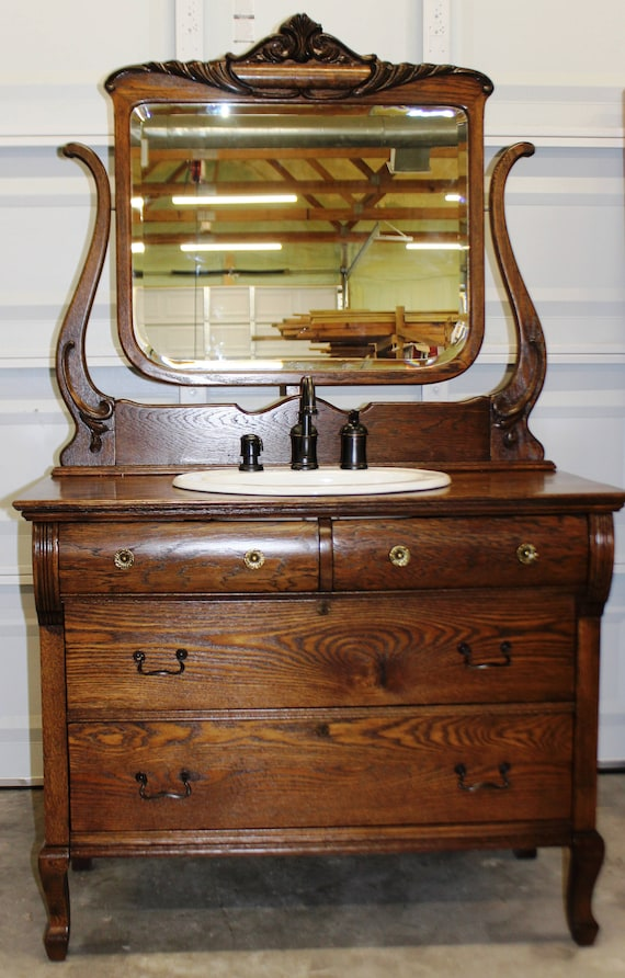 Antique Dresser for Bathroom Vanity with Mirror / Sink and bronze faucet included in price / Oak / 4-drawer cabinet / Vintage / Early 1900's