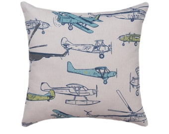 Airplane Pillow Cover - Planes Zippered Pillow - Vintage Air Felix Natural Decorative Pillow - Blue Grey Green Airplane Nursery Pillow Cover