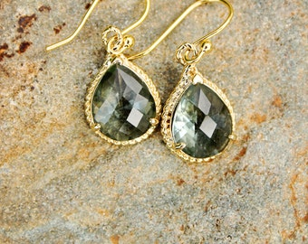 Grey Crystal Drop Earrings Gold Earrings Dangle Earrings Bridesmaid Earrings Wedding Earrings Gift for Her Fashion Earrings Stone