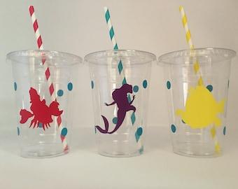 Little mermaid party cups, Ariel Party, Little Mermaid Birthday Party, Little Mermaid Party Favors