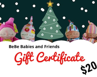 20 Dollar Holiday Gift Certificate for BeBe Babies and Friends Shop Christmas Gift Certificate Doll Gift Certificate Toy Gift Certificate