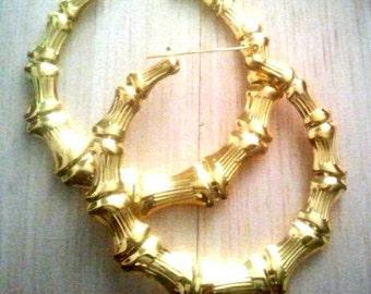 plain gold door knocker earrings door knocker earrings bamboo earrings 80s retro earrings