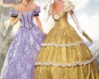 90s Womens Civil War Ballgown Historic Dress Perfect for Reenactors Butterick Sewing Pattern 6195 P412 Size 12 14 16 Bust 34 36 38 UnCut