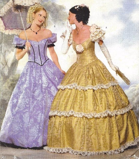 90er Jahre Frauen Bürgerkrieg Ballkleid historischen Kleid