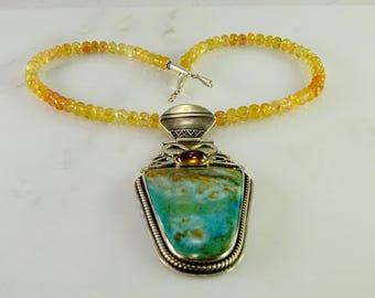 "Arik Idan Artisan Turquoise / Citrine Necklace 17 1/2"""