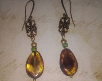 Copper and Amber colour earrings