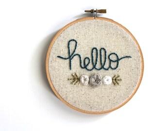 Hello Embroidery Hoop. Home Decor. Wall Art. Home Decor. Unique Gift. Wall Hanging. Embroidery Art.