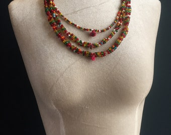 Banjara Gypsy Beaded Necklace, 25+ years old, rare, beautiful glass beads, 3 tiers, handmade, one of a kind,original vintage necklace.