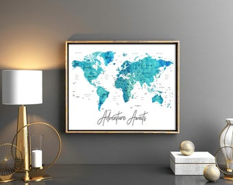 World map countries etsy adventure awaits world map download world map with countries names and boarders map of the world publicscrutiny Gallery
