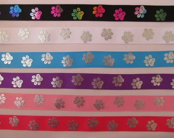 "Grosgrain Paw Print Dog Collar Ribbon 7/8"" Inch 22mm ***DIFFERENT COLOURS***"