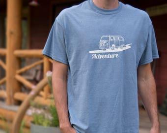 Adventure T-Shirt, Heather Indigo, Van Life, Road Trip
