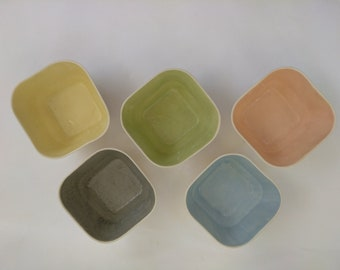 Ceramic Bowl, cereal bowl, soup bowl, pottery bowl, white bowl, blue, yellow, green, square bowl, pottery bowl