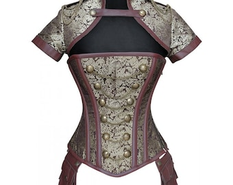Gold and Brown Brocade Steel Boned Military Steampunk Corset w/ Jacket & Pouches