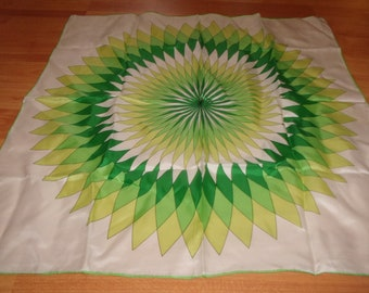 vintage ladies head neck scarf shades of green sunburst burmel