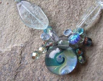 Handgemachte Aquamarin und Glas Halskette blau grün