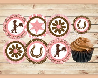 COWGIRL -  Printable Little Pink Cowgirl Birthday Cupcake Toppers - Instant Download