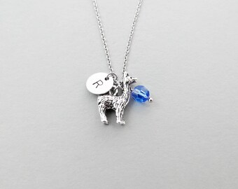 Llama Initial Necklace Personalized Hand Stamped - with Silver Llama Charm and Custom Bead