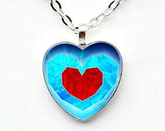 Legend of Zelda  Heart Necklace, Zelda Heart Necklace, Zelda Heart Pendant, Piece of Heart Pendant,  Legend of Zelda Jewelry