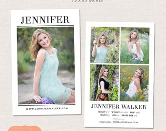 Model Comp Card Photoshop template - Simple Chic CM004 - Modeling card photo template - PSD Instant download