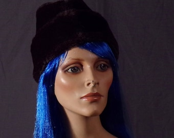 Vintage 1970s Hat - Faux Fur Diplomat Cossack Hat- Faux Fur Winter Hat