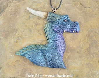 Dragon Head Necklace - Aurora Borealis - IN STOCK and Ready to Ship