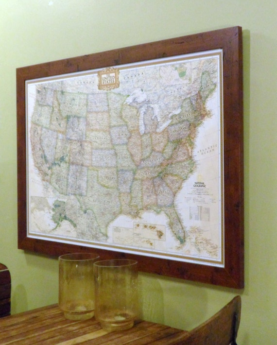 Framed US Earth-toned Push Pin Travel Map