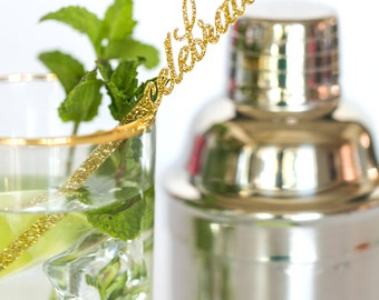 Acrylic Drink Stirrer - Laser Cut Celebrate, Set of 5