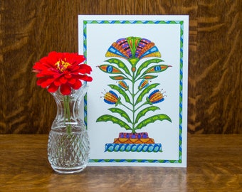 Hand drawn card, folk art card, blank flower card, botanical card, watercolor print, unique greeting card, Pennsylvania fraktur, art print