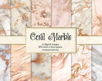 Coral Marble Digital Paper, peach marble, pink marble textures, gold vein marble digital paper, marble backgrounds, scrapbooking