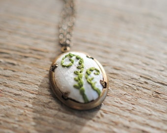 Fiddlehead Fern Pendant, Fern Necklace, Green necklace, eco fashion
