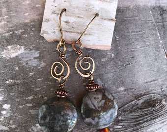 Pyrite Earrings with Spiral Embellishment