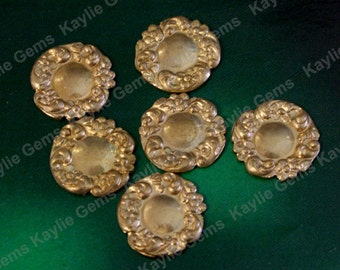Brass Stamping Floral Flourish Round Victorian 13mm Decorative Ornate Ornament  USA SF211- 4pcs