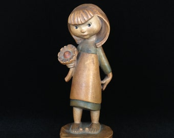 carved wooden girl figurine young flower child vintage Anri Italy collectible