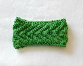 Ready to Ship / Handmade Cableknit Headband in Kelly Green/ Antler Cable Headband / Women's Headband