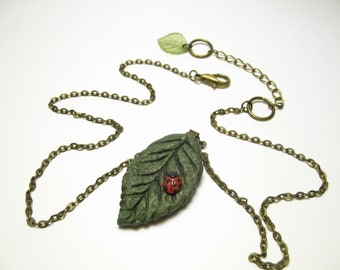 Leaf Ladybug Necklace - Nature Lover - Polymer Clay Jewelry