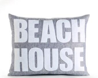 """Linen Pillow, Throw Pillow, Decorative Pillow, """"Beach House"""" pillow, 14x18 inch"""