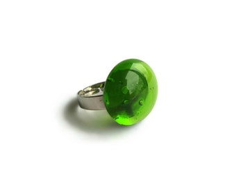 Green Glass Gem Ring