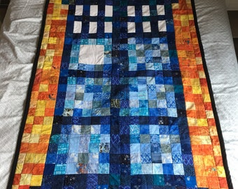 Lap Doctor Who TARDIS Quilt with Exploding Tardis Fabric or Police Box Backing