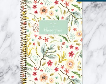 travel journal NOTEBOOK | personalized journal | bullet journal | personalized gift | blank spiral notebook | meadow floral