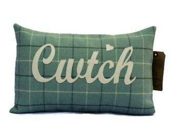 Cwtch Cushion, Cwtch Pillow, Handmade Welsh appliquéd cwtch, cuddle cushion, Pillow